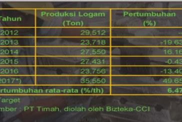 2017 Targetkan Produksi Logam Timah Sebesar 35.550 Ton